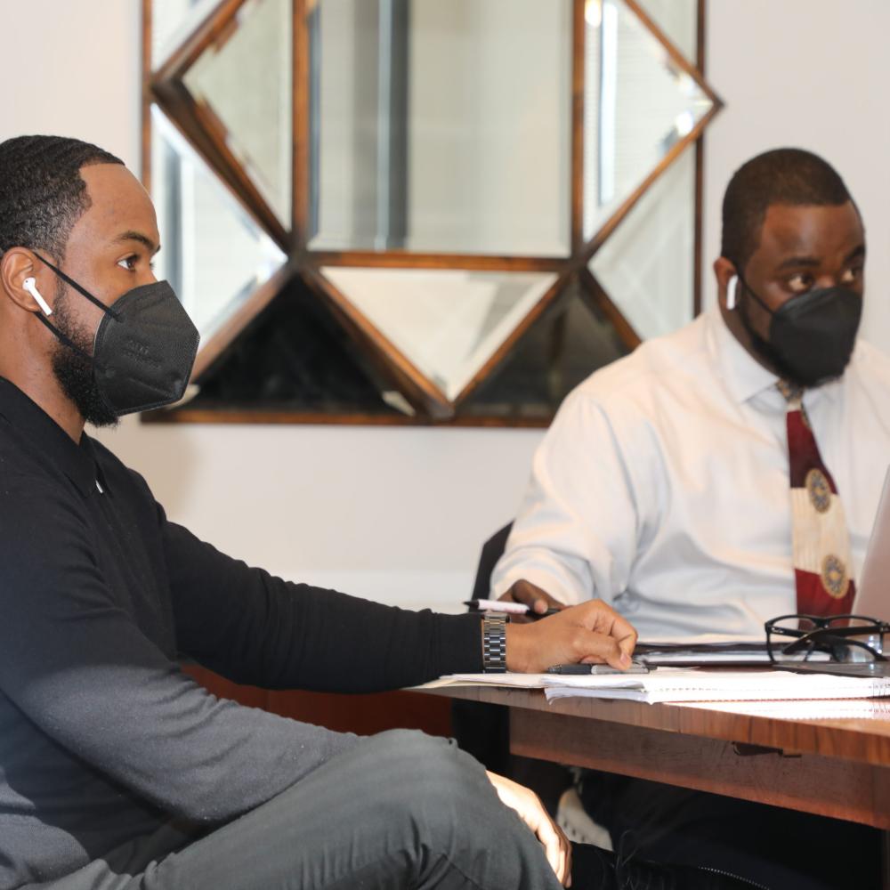 Ihsan Sharif and Franklin Kemp in meeting at office in Atlanta